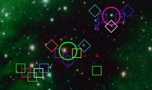 Contrôle ton vaisseau spatial carré et affronte des hordes d'ennemis aux formes simplistes