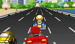Prends le volant du roadster rouge de Mario et roule à contre-sens sur l'autoroute en évitant les F1, les champignons et Luigi