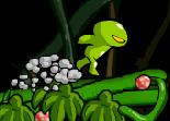 Sauve un spore vert sprintant sur une plante poussant à toute vitesse et évite les montres volants