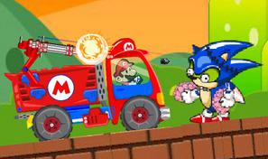 Shoote les Sonic zombies au volant du camion rouge de Mario armé d'un canon