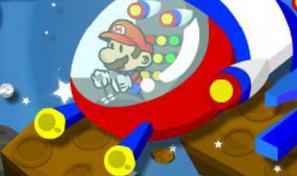 Mario pilote un vaisseau spatial dans des courses de vitesse