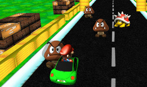 Roule avec la Coccinelle verte de Super Mario sur l'autoroute en ligne droite et évite les dangereux champignons marrons et les carapaces rouges avec des pics
