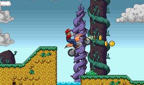 Piloter une motocross orange avec Mario le plombier
