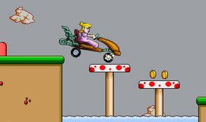 Franchis les obstacles avec le kart de Peach sur des niveaux de jeux de plate-forme rétros