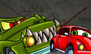 Prends le volant d'une Coccinelle rouge et pilote en faisant des cascades et en échappant aux voitures cannibales