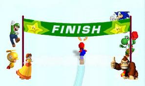 Mario glisse en snowboard sur des pistes de neige