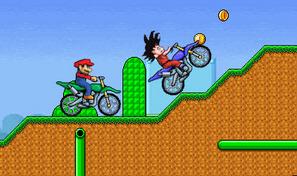Jeu de course de moto entre Mario et pleins de personnages de dessins animés