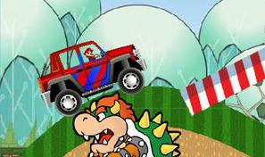 Mario conducteur de jeep dans un jeu de plateforme