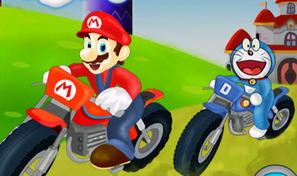 Mario le plombier et Doraemon dans une course de moto