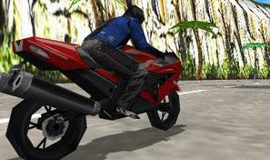 Fais cracher des flammes à ta moto de course et slalome entre les voitures de sport