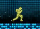 Course pixelisée dans des décors colorées et carrés