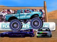 Un Monster Truck roule sur des voitures