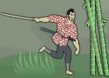 Un samouraï armé d'une épée court à travers les bambous