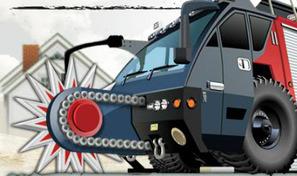 Pilote un Monster Truck sur une route de montagne et tue les zombies avec l'énorme scie circulaire du camion