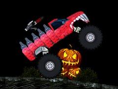 Ramasse les confiseries d'Halloween avec ton Monster Truck, tire sur les fantômes et évite les citrouilles explosives