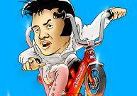 Elvis Presley fait une course de bicyclette