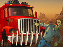 Ecrabouiller les zombies au volant d'un camion rouge