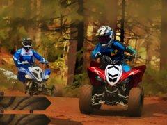 Défie les meilleurs pilotes de quads dans des courses boueuses en forêt