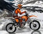Pistes enneigées pour pilote de motocross chevronné