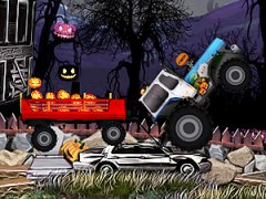 Conduis un tracteur sur des routes au relief difficile et tire une remorque remplie de citrouilles d'Halloween