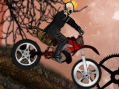 Fais du franchissement avec la motocross d'un squelette enflammé et collecte les citrouilles d'Haloween