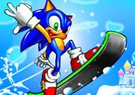 Mario affronte Sonic en snowboard